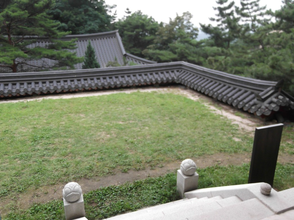 The celing of the previous building and garden of the following temple