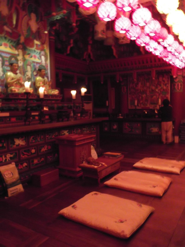 inside the temple where we did the prostrations