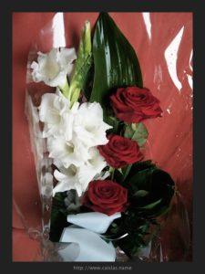 Flowers I got for Outi. She always was elegantly dress, mainly in black and white with a touch of red present.