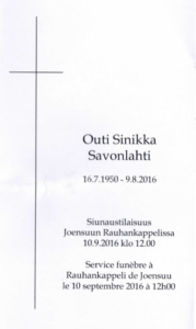 """Missal"" of Outi Savonlahti funeral"
